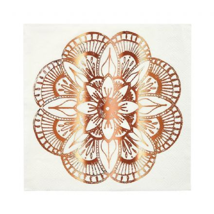 Rose Gold Mandala Pattern Paper Napkins - Large